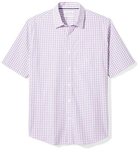 Amazon Essentials Men's Regular-Fit Short-Sleeve Casual Poplin Shirt, red/blue plaid, Large