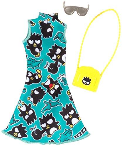 B Original Mattel Barbie Mode, Kleider Set - inkl. Schuhe oder Accesoires (FKT16 - Hello Kitty Kleid türkis mit Badtemaru - inkl. Umhängetasche und Sonnenbrille)