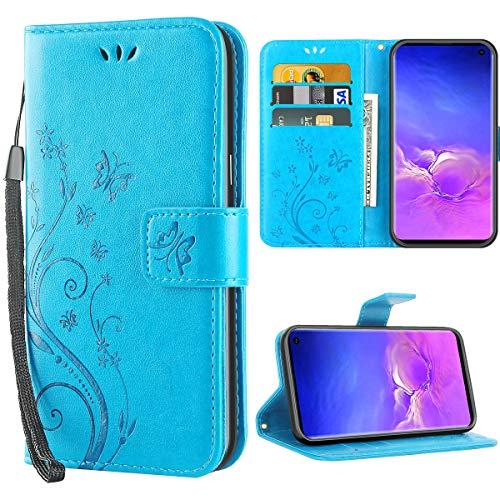 iDoer Hülle Kompatibel Mit Samsung Galaxy S10 Schmetterling Leder Case Schutzhülle Blau