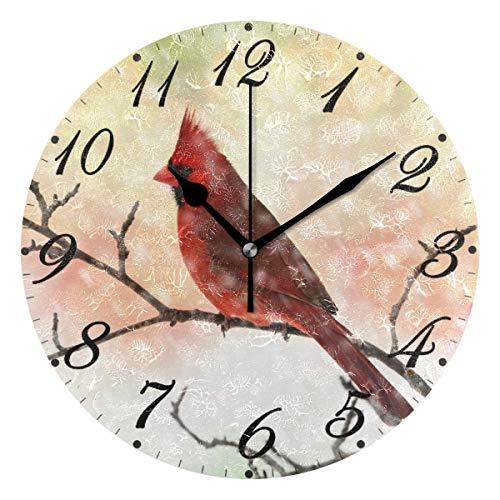 Jacque Dusk Reloj de Pared Moderno,Árbol de Navidad del Copo de Nieve del pájaro Cardenal,Grandes Decorativos Silencioso Reloj de Cuarzo de Redondo No-Ticking para Sala de Estar,25cm diámetro