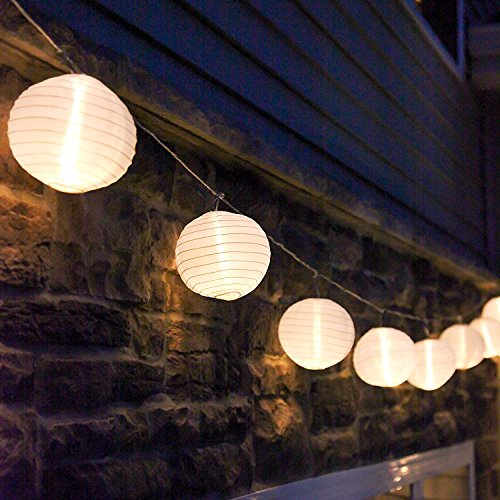 Mini Lantern String Lights - 10 White Nylon Hanging Lanterns with Warm White Bulbs Included, 7 Feet Long, Waterproof for Indoor/Outdoor Lighting, Plug in, Connectable up to 25 Strands
