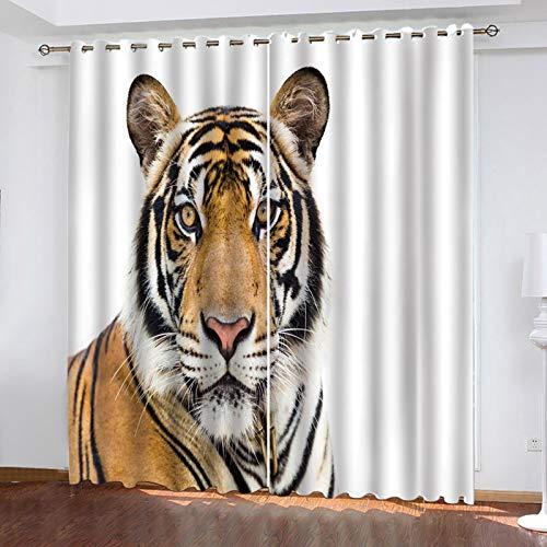 ZXPAG Cortinas opacas plisadas con impresión digital 3D con aislamiento térmico suave, cortinas de ahorro de energía, cortinas en el dormitorio, sala de estar, 104 x 63 pulgadas, simple tigre animal