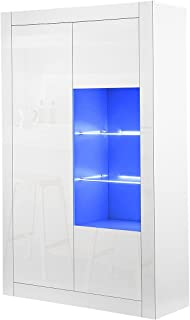 Buffet Sideboard High Gloss Front 3 Doors Storage Shelf Display Cabinet Cupboard LED Light White