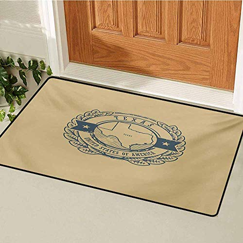 Texas Inlet Outdoor Door mat Grunge Retro Rubber Stamp with Name and Map of Texas United States of America Catch dust Snow and mud W23.6 x L35.4 Inch Khaki Cadet Blue