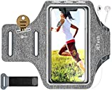 JETech Cell Phone Armband Case for Phone Upto 6.2 inch, Adjustable Band, w/Key Holder and Card Slot, for Running, Walking, Hiking, Grey