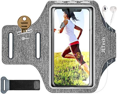 JETech Sportarmband Handy Hülle für Telefon bis 6,2 Zoll, einstellbares Band, Schlüsselhalter und Kartenschlitz zum Laufen, Gehen, Wandern, Grau