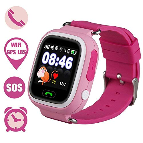 Kids Smartwatch, Anti-lost GPS tracker Smart Watch for Children Girls Boys Compatible for iPhone Android (Pink)