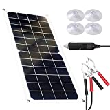 CZX 10W Portable Solar Battery Charger 12 Volt Waterproof Solar Panels kit Flexible Monocrystalline Emergency Charging Power for...