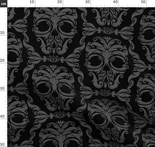 viktorianisch, gothic, Totenkopf, Damast, Halloween, gespenstisch, Stoffe - Individuell Bedruckt von Spoonflower - Design von Thecalvarium Gedruckt auf Bio Baumwollsatin