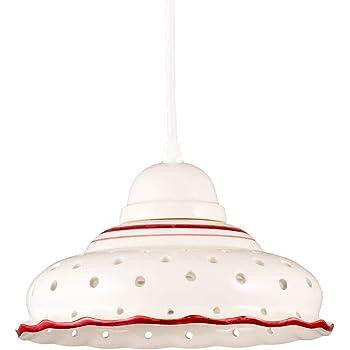 Helios Leuchten 207144 Keramiklampe antik weiß   weiß rot