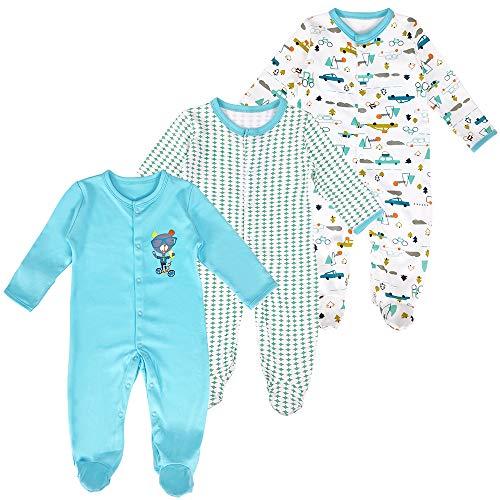 Bebé Mameluco de Algodón Piezas de 3, Recién Nacido Pelele Niño Niña Pijama Monos Manga Larga Body Ropa para Bebé 6-9 Meses