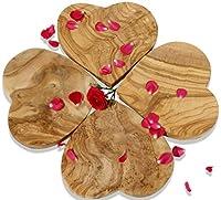 figura santa set da 4 tavolette in legno di ulivo heartbeat. 20 x 20 cm. utilizzabili come oggetti da decorazione, taglieri e vassoi per la colazione. legno d'ulivo meravigliosamente venato.