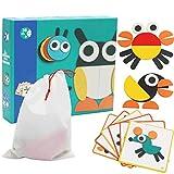 Phnirva Wooden Pattern Blocks Puzzle Box Educational Toys Challenge IQ for Children Kids