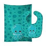 Caroline's Treasures BB8794STBU Ocean Octopus Blue Baby Bib & Burp Cloth, 11 x 18', multicolor