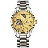 L.W.SURL Hombres Reloj mecánico Simple Asistencia a la Escuela Viajero Resistente al Agua con Caja de Reloj Reloj de Regalo (Color : Oro, Size : Gratis)