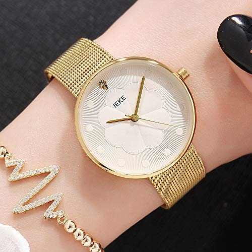 SHOUB Reloj de Cuarzo con Correa de Acero para Mujer, con patrón de Flores, para Mujer Reloj de Cuarzo Nuevo