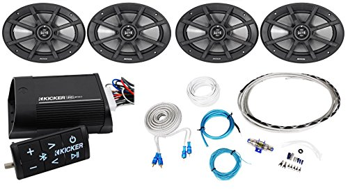 "(4) Kicker 40PS692 6x9"" 360w ATV/Motorcycle Speakers+Bluetooth Amplifier+Amp Kit"