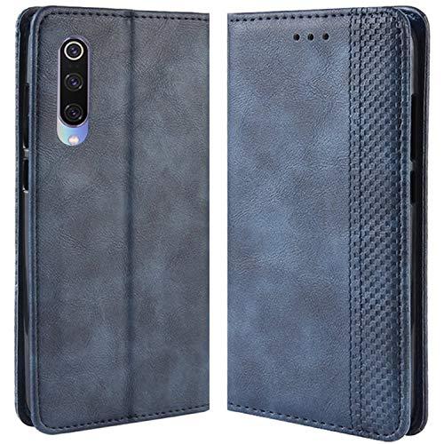 HualuBro Handyhülle für Xiaomi Mi 9 SE Hülle, Retro Leder Brieftasche Tasche Schutzhülle Handytasche LederHülle Flip Hülle Cover für Xiaomi Mi 9 SE 2019 - Blau