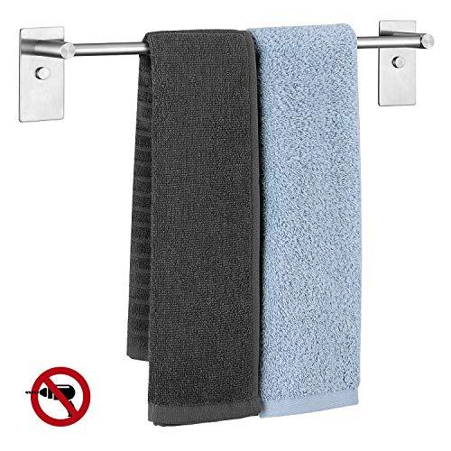 UMI. by Amazon - Selbstklebender Handtuchhalter ohne Bohren/mit Bohren, Handtuchstange aus 304 Edelstahl für Badezimmer Wand Küche, Badtuchstange 38,3 cm