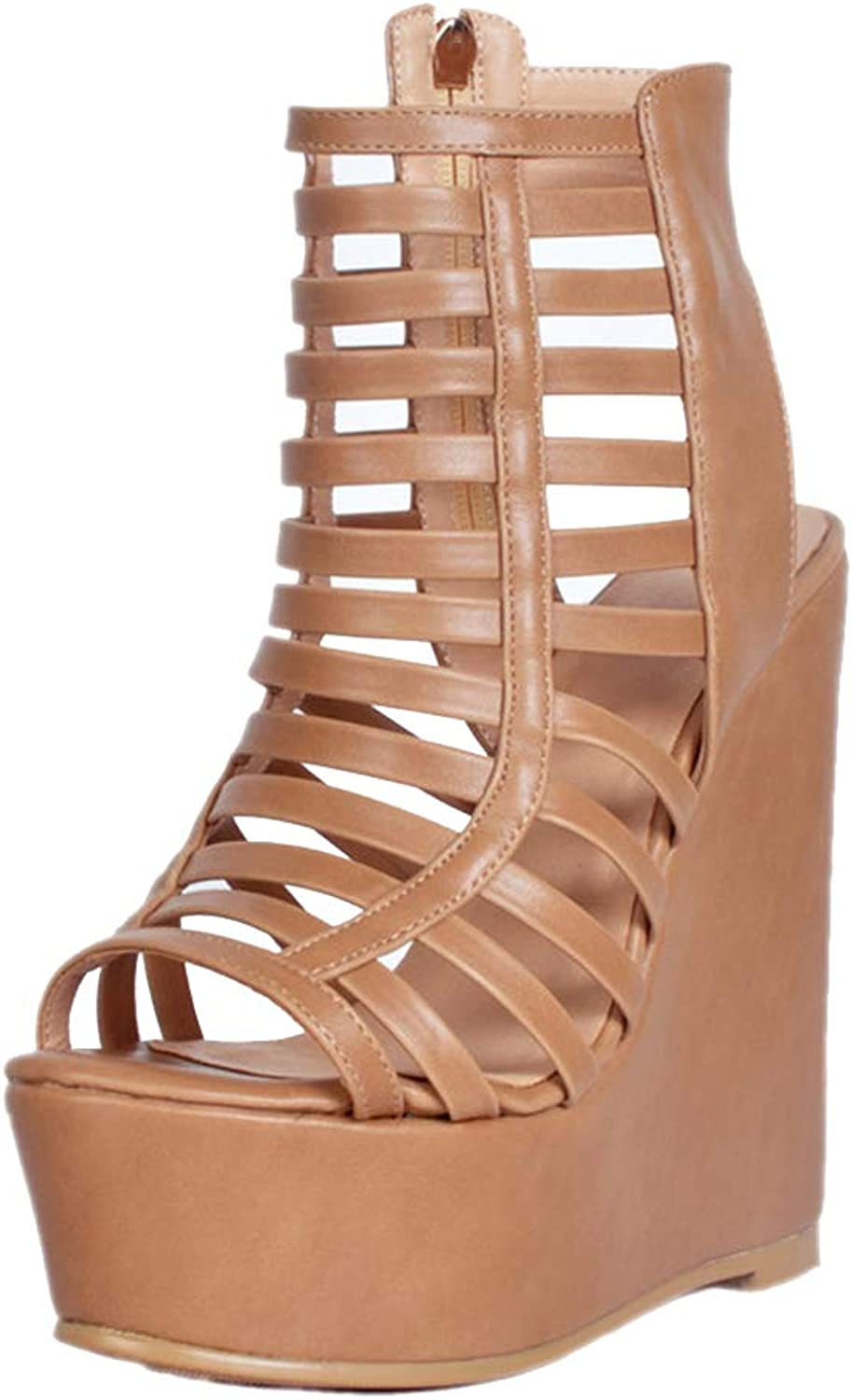 CASSOCK Ladies Handmade Wadge Heel Sandals Cut-Out Sexy School Party Prom Summer Fashion shoes