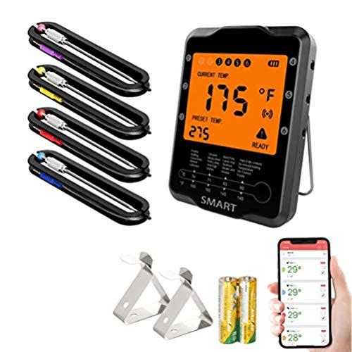Aeo Fleischthermometer Digital Grillthermometer, Funk Bratenthermometer, BBQ Thermometer Bluetooth mit 4 Sonden LCD Display für Grill, Küche, Steak, Kochen, Unterstützt IOS und Android
