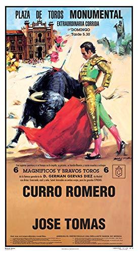Cartel de toros - Personalizado 24 Carácteres - Plaza de Toros - Monumental - Extraordinaria Corrida - Curro Romero - José Tomás