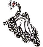 CHXISHOP Anillo de plata 925 personalidad tungsteno oro piedra pavo real apertura anillo ajustable moda retro mujer índice dedo anillo animal joyería