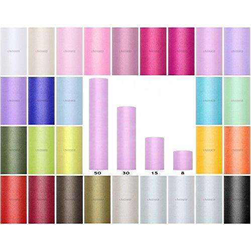 e-kurzwaren Bobine de Tulle 8/15/30/50/80cm Rouleau de Tulle 9m/20m Idéal décoration pour Mariage Tutu Banquet Artisanat Polyester Couleurs