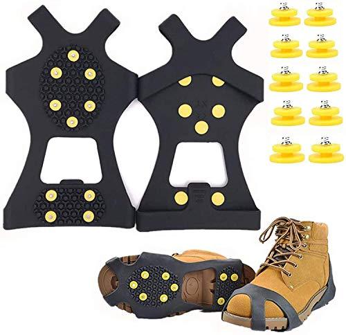 Matefielduk Crampones 10 Dientes,Racos de Hielo Tracción Antideslizante Más de Zapatos/para 10 Tacos Nieve Hielo Grips Crampones Tacos Picos,Fácil de Poner,Caminar en la Nieve