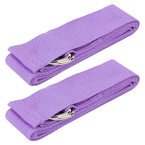 TANKE 2 unids Yoga Estiramiento Cinturón Assist Stretch Pull Strap Principiante Back Entrenador Equipo de Entrenamiento Ligero Púrpura