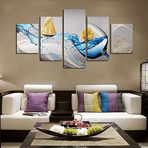 MPPSU Copa De Vino Creativa Abstracta 5 Paneles Impresión HD Cuadros Decoracion Dormitorios Salon Modernos 150Cm×80Cm con Marco
