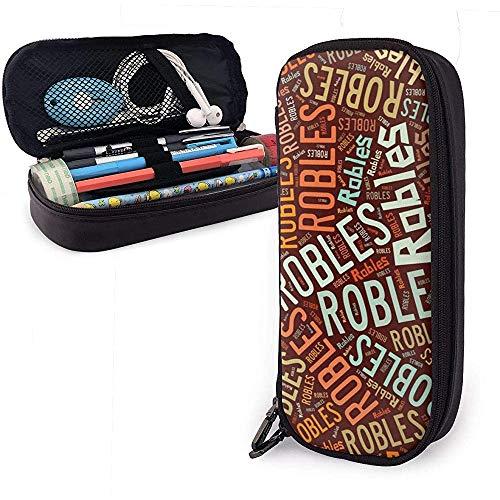 Robles - Apellido americano Estuche de cuero de alta capacidad Estuche de...