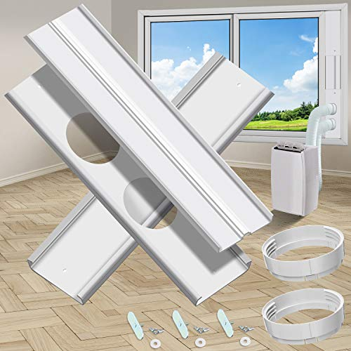 gulrear Dual Hose Portable Air Conditioner Window kit, Window Seal Plates Suitable for Portable AC vent kit Adjustable Length from 20' to 55' for 5.9' Diameter Exhaust and Intake Outlet Portable AC