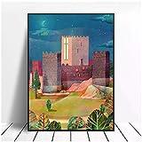 XuFan Guimaraes Portugal Lienzo Pintura Arte impresión Cartel Imagen Pared Moderno Minimalista Dormitorio Sala de Estar decoración-20X28 Pulgadas sin Marco