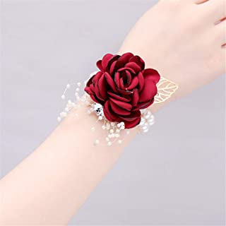 AXEDENRT Pack of 4 Corsage Party Prom Stretch Bracelet Flower Corsage Pearl Bead Wristband Bead Wristband Trim