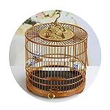 Bird Houses Jaula de pájaros de Jade de maná Amarillo pájaro bambú Antigua Hecha a Mano Jaula de pájaros portátil Dragón Ornamental Loro Cajón Inferior Vivo con Jaula