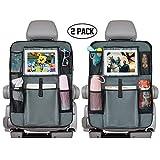 Rücksitz-Organizer für Autositze, mit Touchscreen, 25,4 cm (10 Zoll) iPad-Halterung + 5 Aufbewahrungstaschen, Fahrzeuginnenraum für Kinder und Kleinkinder, AUTO4V, Grau 2 Stück