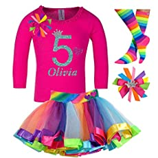 Girls 7th Birthday Rainbow Tutu Outfit 4PC Gift Set Socks Hair Clip Personalized Name 7 years old