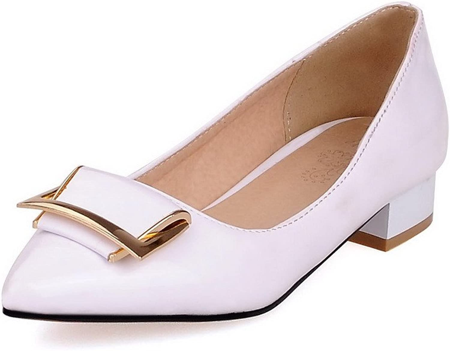 WeenFashion Women's Pointed Closed Toe Low Heels Solid Pull On Pumps-shoes
