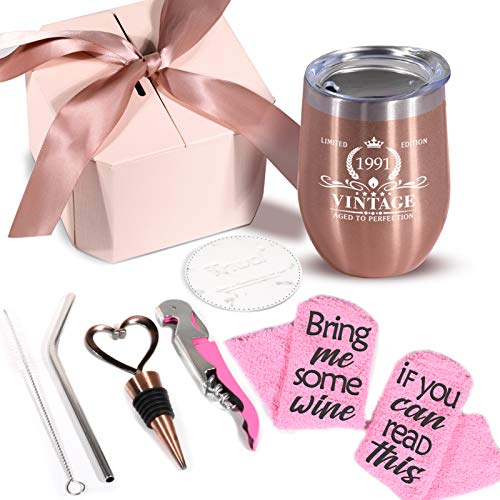 1991 30th Birthday Gifts for Women - Vintage 30 Birthday Decorations Wine Tumbler Sock Gift Set for Wife Daughter Girl Friends Sister, Funny 30 Year Old Best Bday Gift Present Ideas for Her