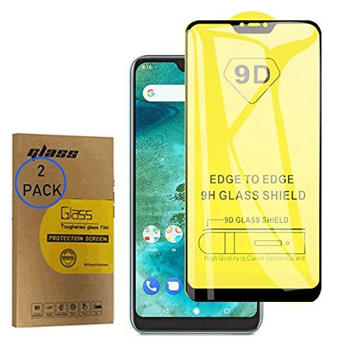 [2 unidades] Protector de pantalla de vidrio templado de cobertura completa 9D para Xiaomi Mi A2/Mi 6X M1804D2SG de 6 pulgadas, ultrafino, antihuellas y claridad HD