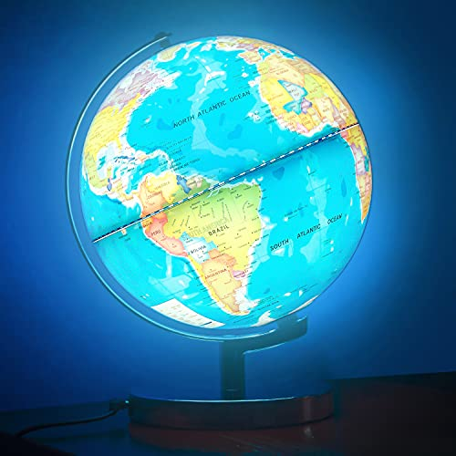 POOCCI Illuminated World Globe for Kids with Stand 6in1 Rewritable Colorful Easy-Read High Clear Map, Illuminates Educational Interactive Globe STEM Toy, Light Up Globe Lamp, Night Light LED Decor