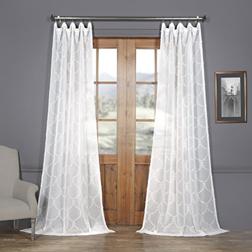 HPD Half Price Drapes SHCH-120-108 Patterned Faux Linen Sheer Curtain (1 Panel), 50 X 108, Marseille Shell