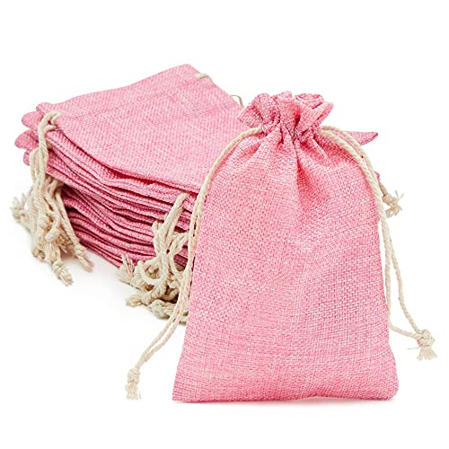 Jewelry Pink Drawstring Bags for Baby Showers and Wedding (4.5 x 7 In, 24 Pack)