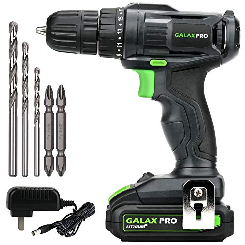 GALAX PRO 20V Cordless Drill Driver with Work Light, Max Torque 20N.m, 3/8 Inch Keyless Chuck, 19+1 Position, Single Speed 0-600RPM, 1.3Ah Battery and Charger Included