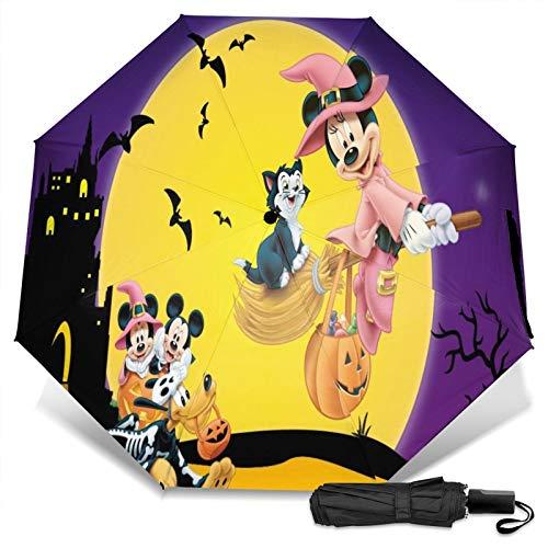 Kompakter Manueller Dreifach Reise Anti-Uv Regenschirm Zum Öffnen/Schließen, Winddichter, Faltbarer, Leichter Sonnenschirm Im Freien, Disney Mickey Mouse und Minnie Halloween