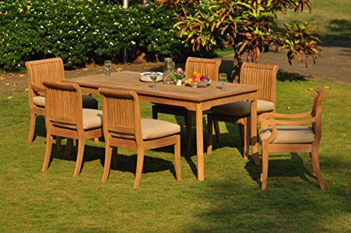 "Big Sale Best Cheap Deals New 7 Pc Luxurious Grade-A Teak Dining Set - 71"" Rectangle Table, 4 Armless and 2 Giva Arm / Captain Chairs"