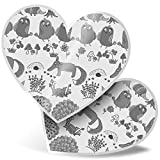 Impresionante 2 pegatinas de corazón de 15 cm BW – Woodland Fox búhos árbol seta divertido calcomanías para portátiles, tabletas, equipaje, libros de chatarra, neveras, regalo genial #35685