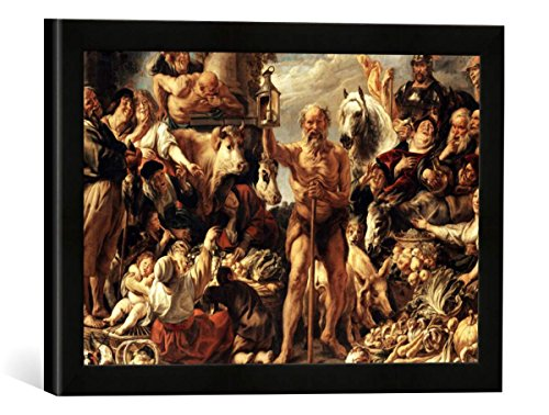 Gerahmtes Bild von Jacob Jordaens Diogenes mit der Laterne, auf dem Markte Menschen suchend, Kunstdruck im hochwertigen handgefertigten Bilder-Rahmen, 40x30 cm, Schwarz matt