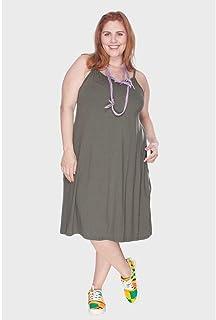Vestido com Alças Finas Plus Size